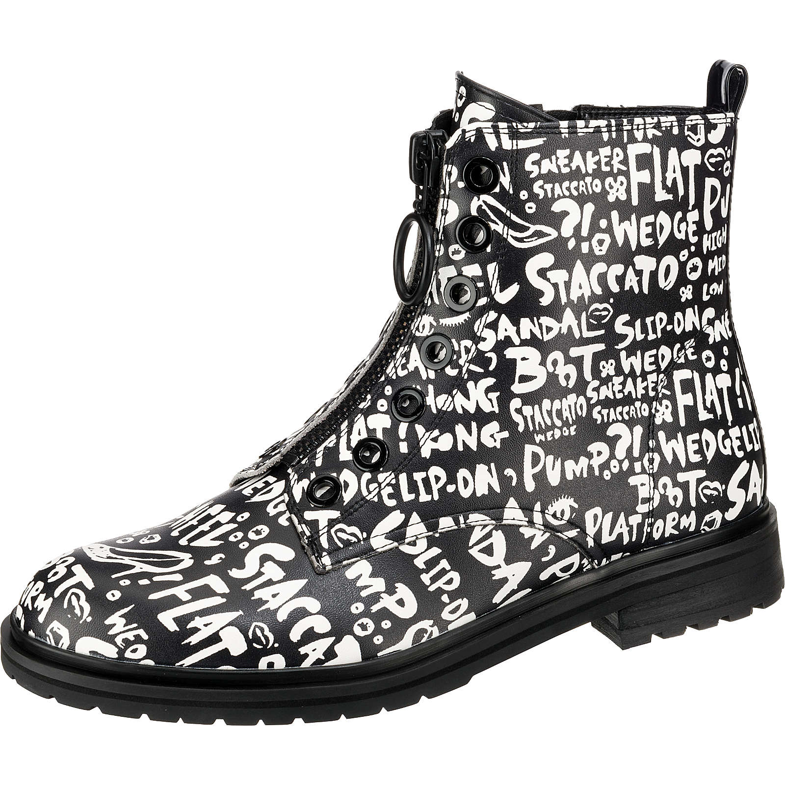 BUFFALO Arabella Biker Boots schwarz/weiß Damen Gr. 40