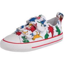 CONVERSE Baby Sneakers Low CTAS 2V OX WHITE/ENAMEL RED/TOTALLY BLUE für Jungen, Dinosaurier weiß-kombi Junge Gr. 26