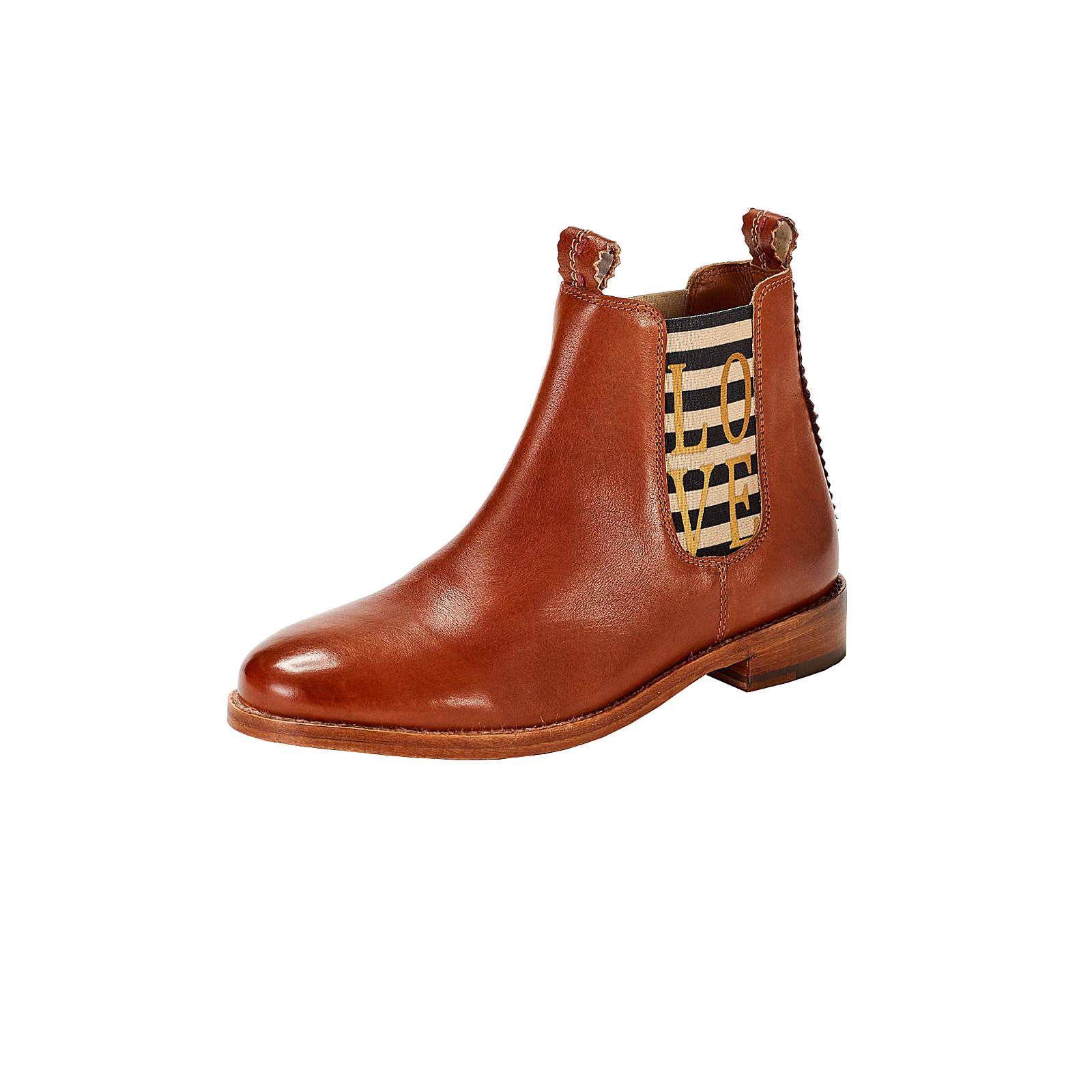 CRICKIT Chelsea Boot LENA mit goldenem Love Chelsea Boots cognac Damen Gr. 36