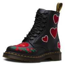 Dr. Martens 8 Eye Boot PASCAL HEARTS SoftyT schwarz Damen Gr. 40