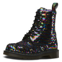 Dr. Martens 8 Eye Shoe 1460 Sequin Rainbow silber Damen Gr. 40