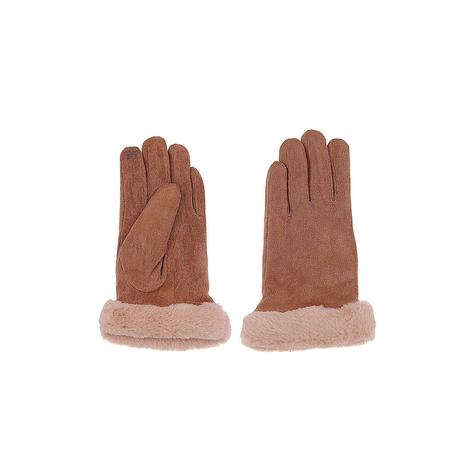 Leslii Fingerhandschuhe mit Kunstfell Fingerhandschuhe braun/beige Damen