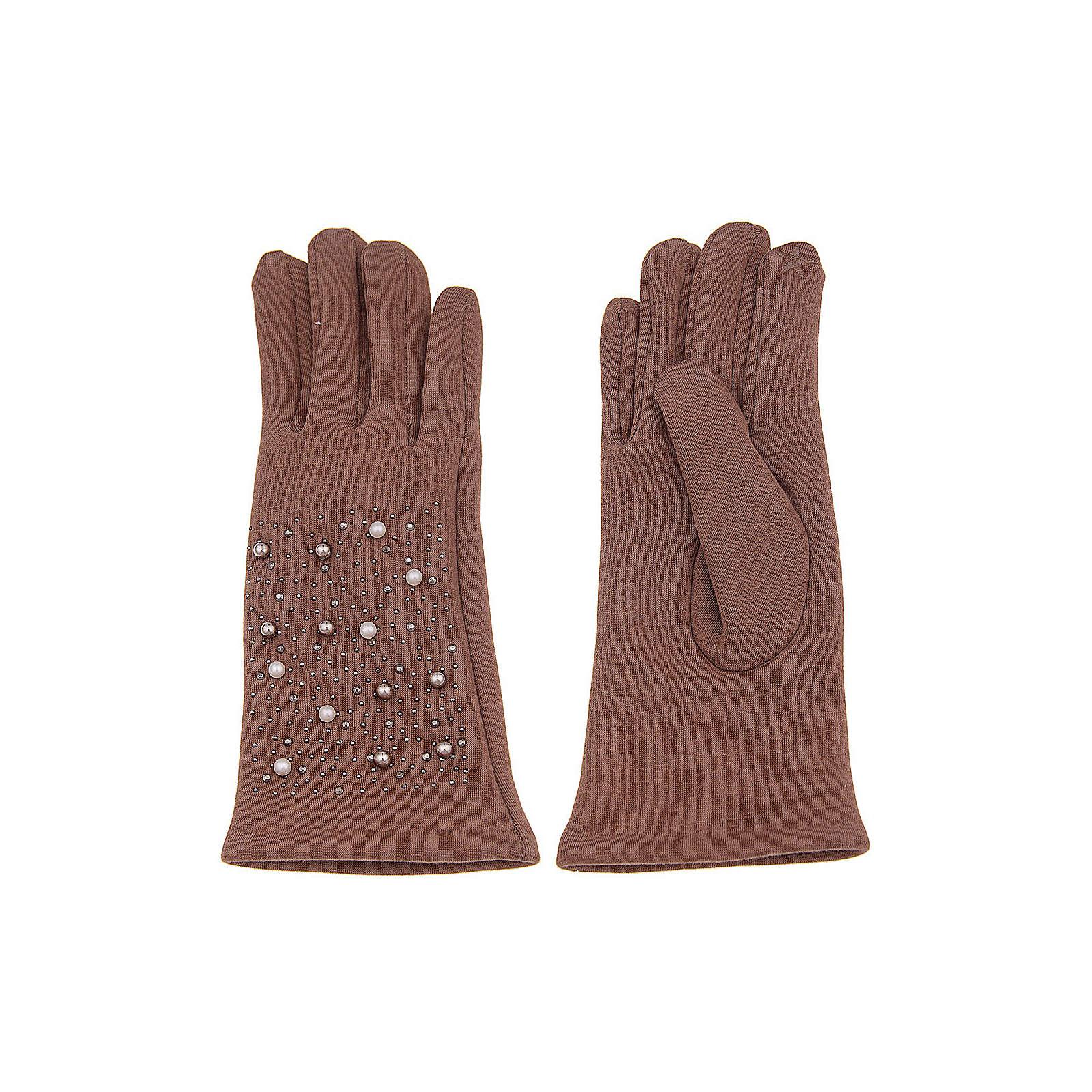 Leslii Fingerhandschuhe mit Perlenapplikation Fingerhandschuhe braun/weiß Damen
