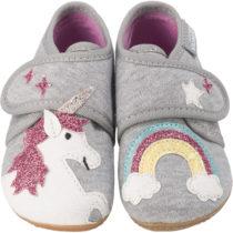 Living Kitzbühel Baby Hausschuhe für Mädchen, Einhorn hellgrau Mädchen Gr. 23