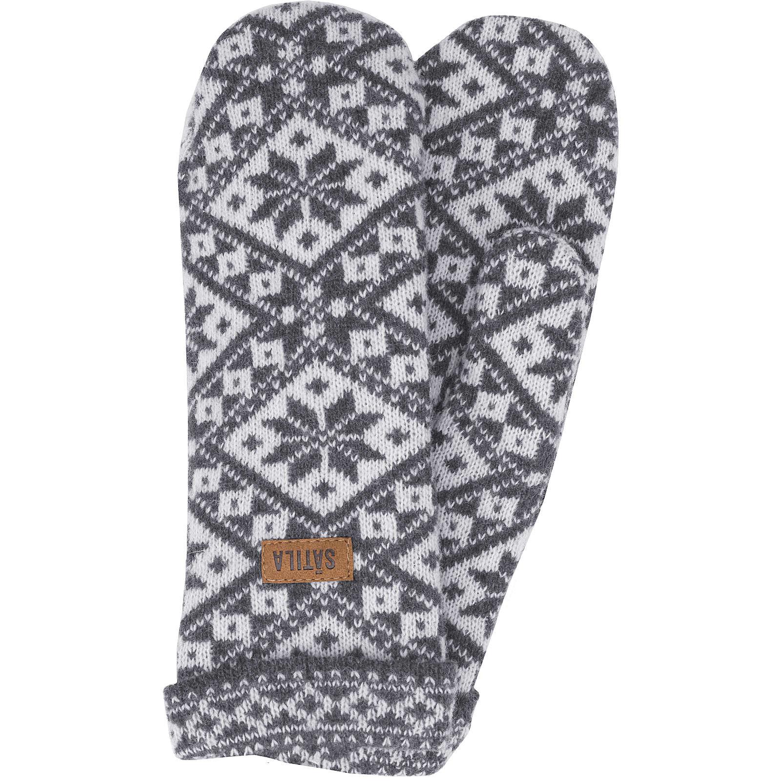 Sätila of Sweden Fäustlinge Grace mit nordischem Muster Fingerhandschuhe grau Damen