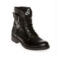 Soccx Premium Leder Boots mit Zierriemen schwarz Damen Gr. 36