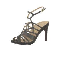 Tamaris 1-28317-22 003 Damen Black Leather Schwarz Sandaletten High Heeled Strappy Sandale Heart & Sole Klassische Sandalen schwarz Damen Gr. 37
