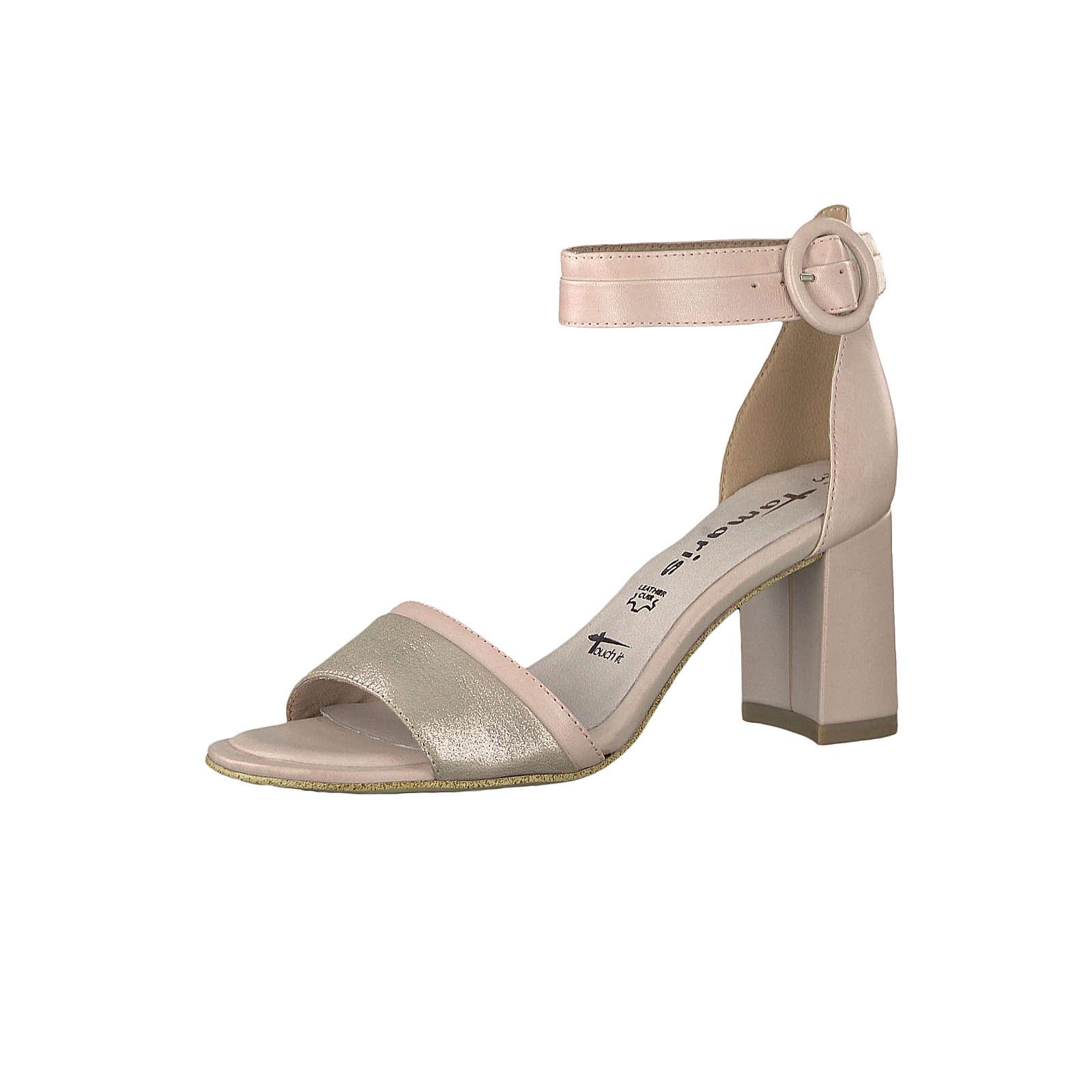 Tamaris 1-28379-22 645 Damen Powder Comb Creme Beige Sandaletten Ankle Cuff Sandale mit TOUCH-IT Sohle Klassische Sandalen beige Damen Gr. 36