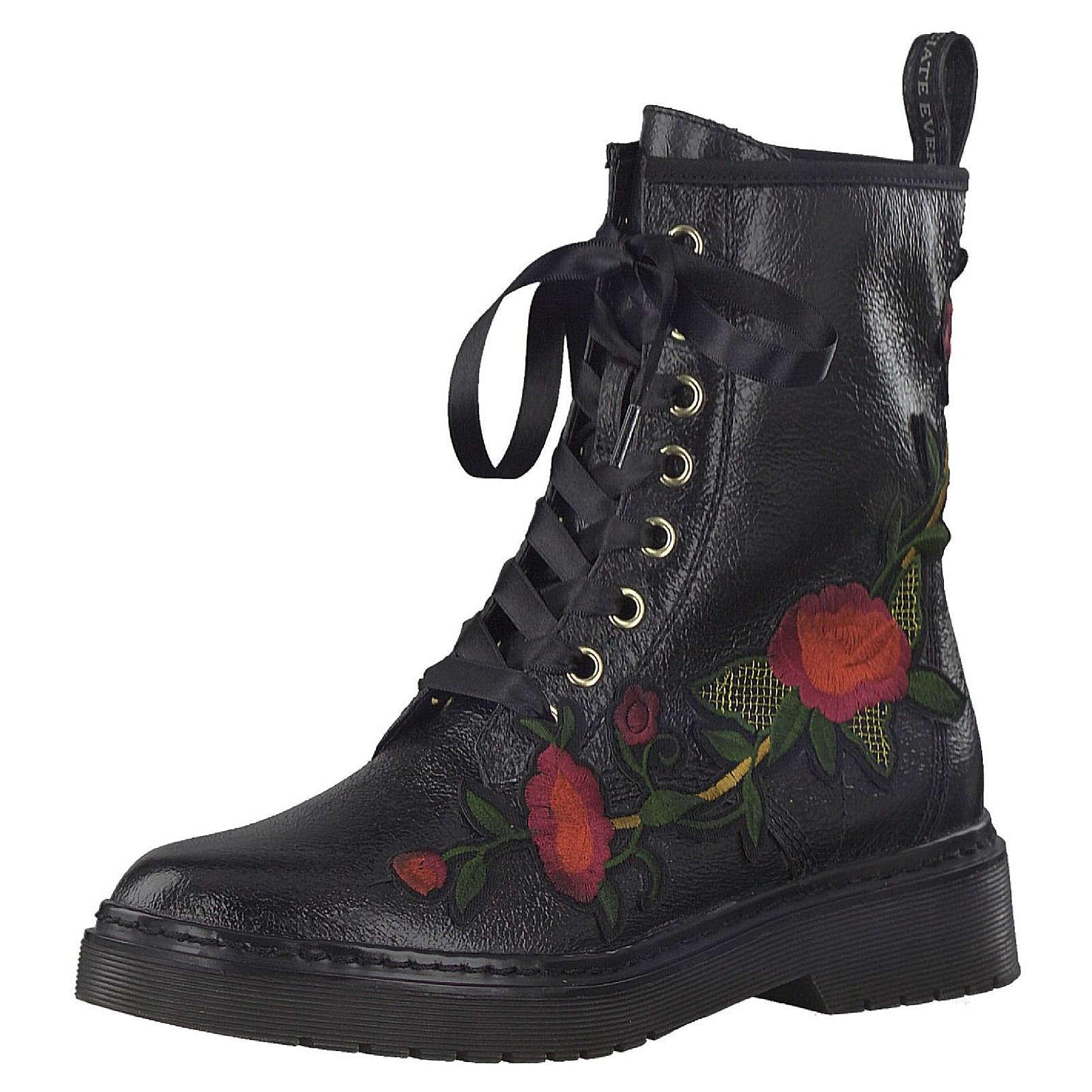Tamaris Schnürstiefelette Lace-Up Boots mit TOUCH-IT Sohle Schwarz mit Blumenmuster 1-25738-39 001 Black Schnürstiefeletten schwarz Damen Gr. 37