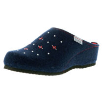 Tofee Damen Hausschuhe Pantoffeln Naturwollfilz (Glitzersteine) blau blau Damen Gr. 36