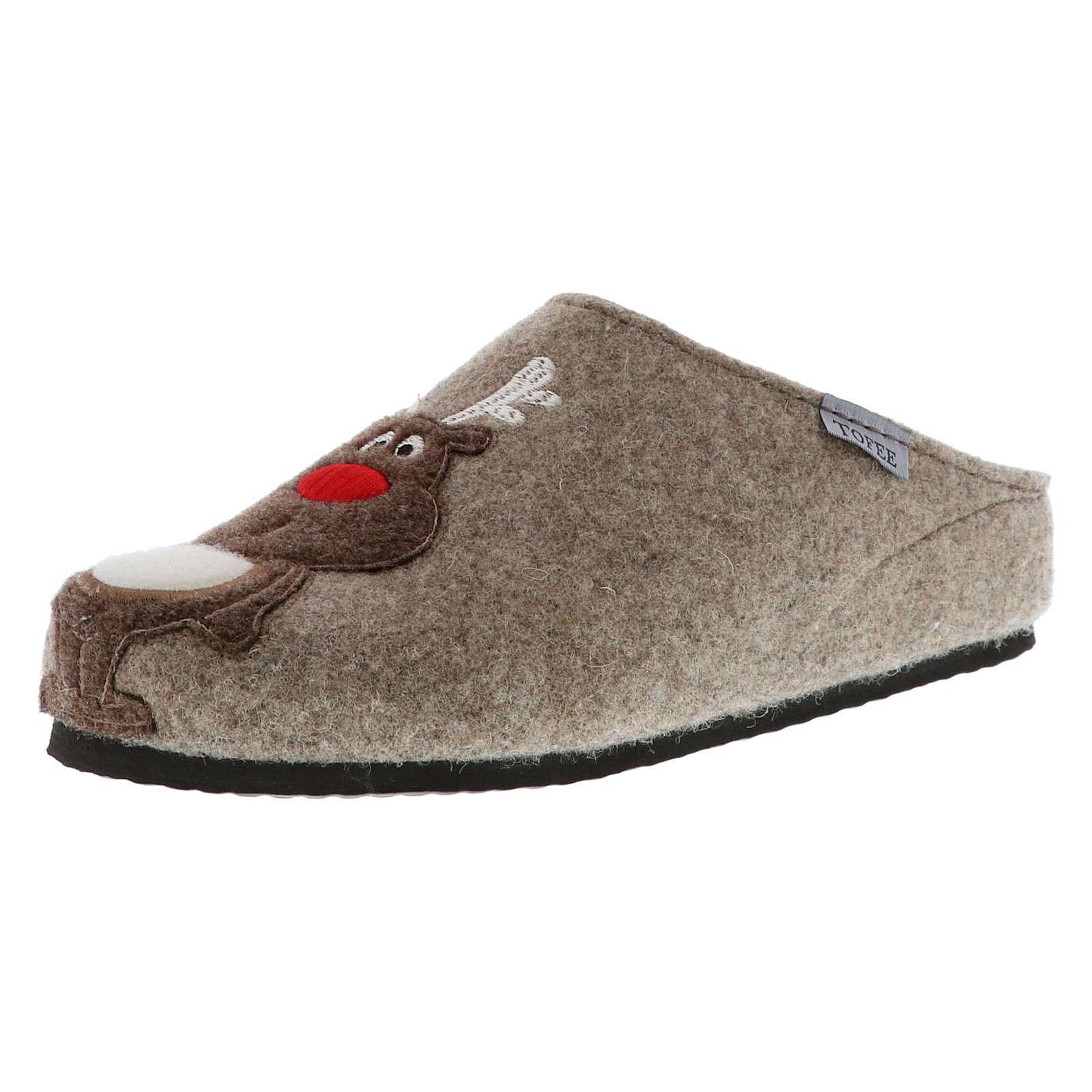 Tofee Damen Hausschuhe Pantoffeln Naturwollfilz Rentier beige beige Damen Gr. 36