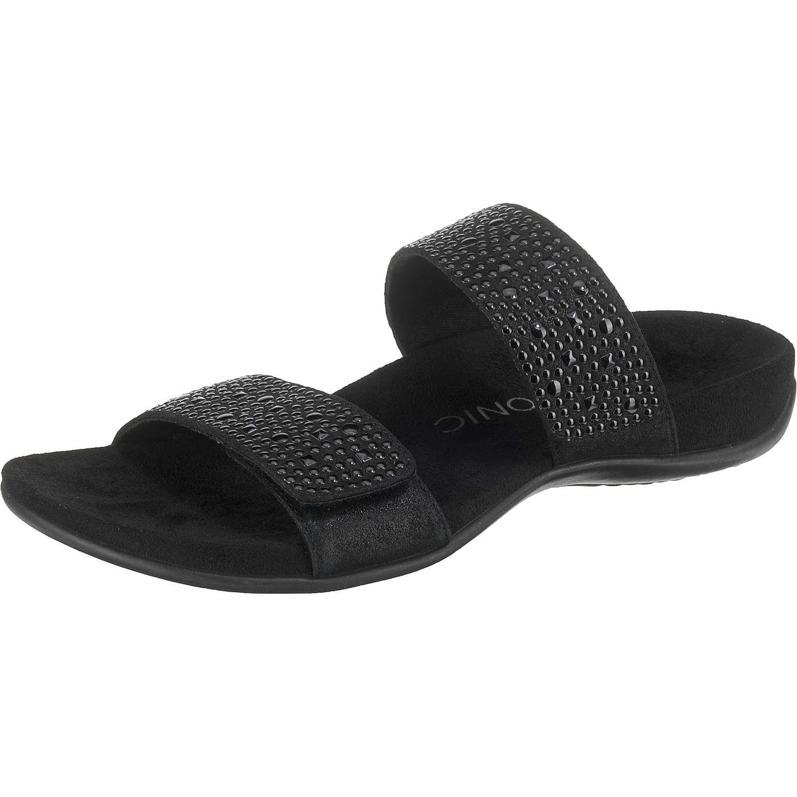 Vionic Samoa Komfort-Pantoletten schwarz Damen Gr. 37