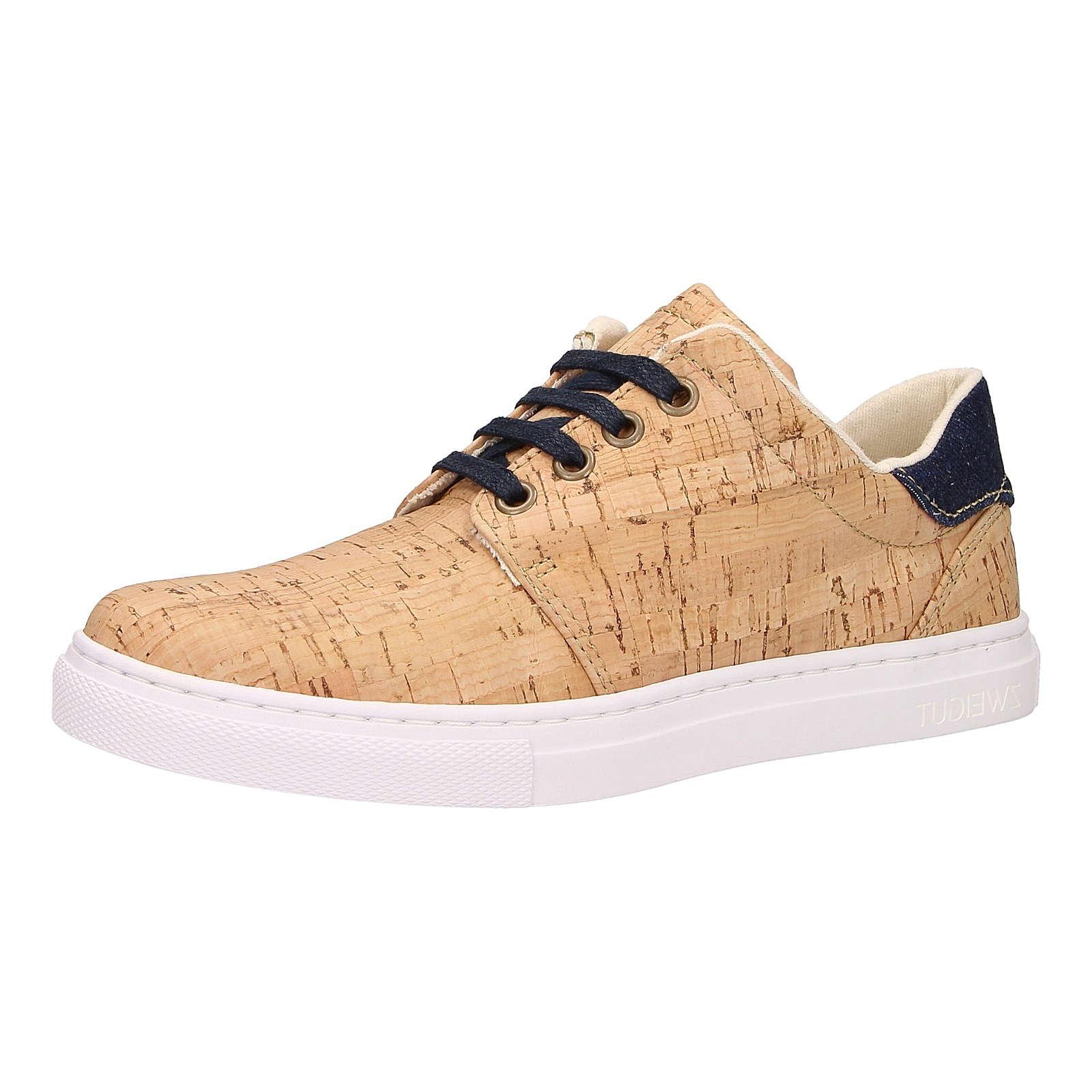 ZWEIGUT® Korkschuhe echt #401 vegane Damen Sneaker + nachhaltig aus echtem Kork blau-kombi Damen Gr. 36