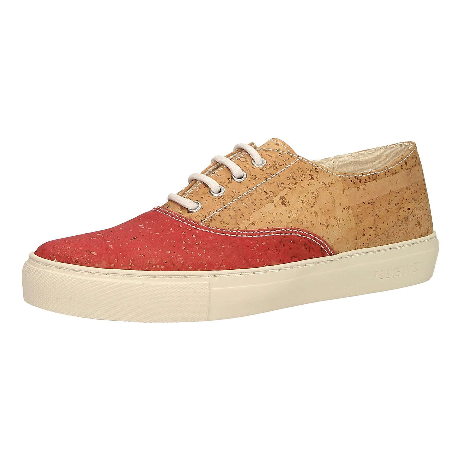 ZWEIGUT® Korkschuhe echt #406 vegane Damen Sneaker federleicht rot-kombi Damen Gr. 38